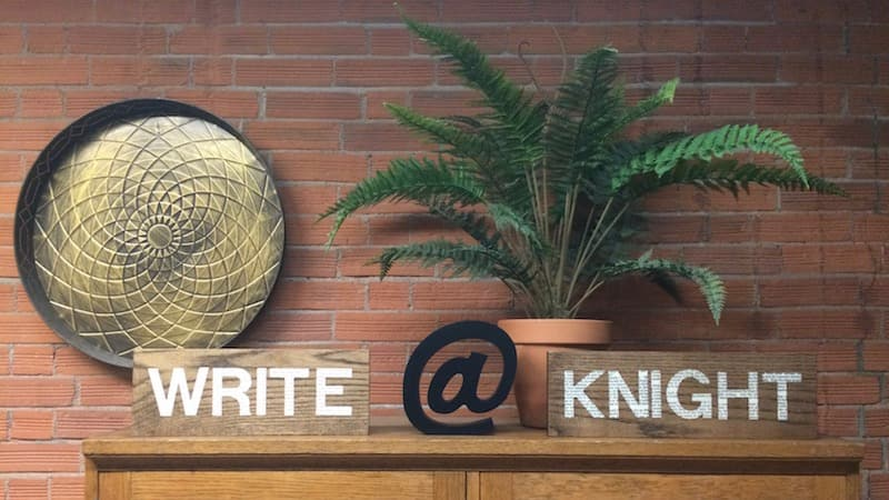 Front entrance of the Knight Institute, Write@Knight