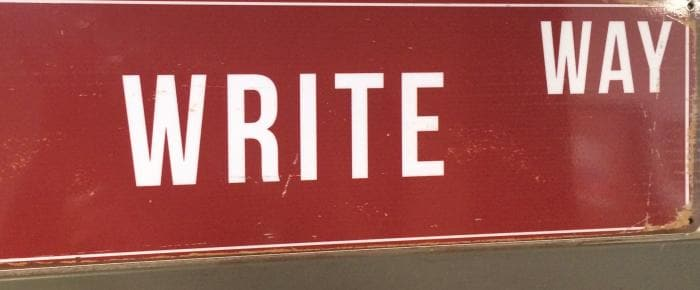 Write Way Street Sign in Red and White