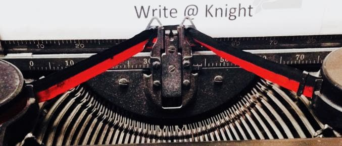 Write@Knight with antique typewriter