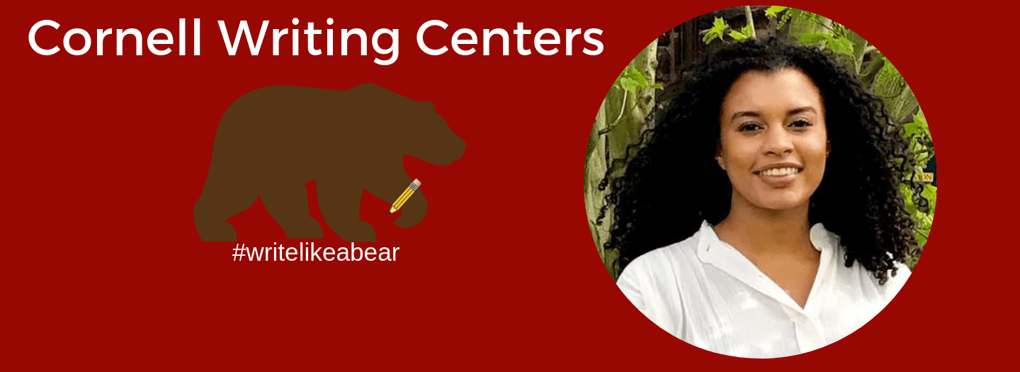 Writing Centers Tutor Isabella Japal and the Cornell Writing Centers brown bear with a pencil logo and the hashtag: write like a bear.