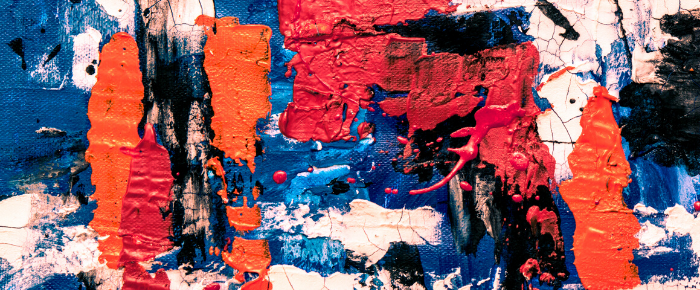 A background of abstract art, which has thick paint brushed at different angles in red, orange, blue, black and white.