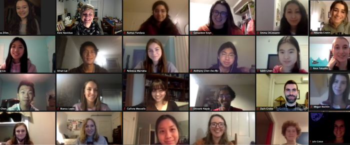 A screenshot of tutor staff meeting that shows 24 boxes that each has a Cornell Writing Center tutor in it.