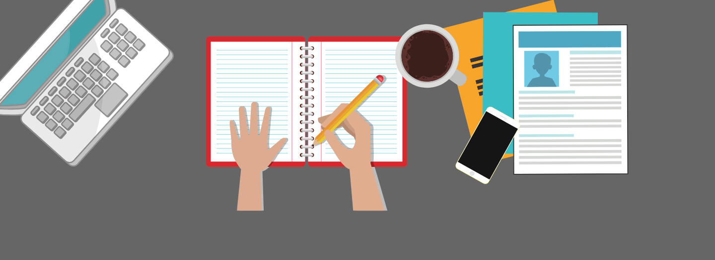 On a gray background, there is a laptop on the top left, hands writing in an empty notebook in the center, and a stack of papers on the right. All are cartoon-like icons.