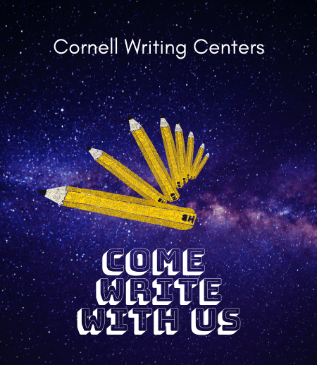 """Come Write with Us"" is in a big white font on the left side of the pano image, overtop of a blue and purple galaxy picture. In the center, there is a number of yellow pencils that swirl inward, getting smaller and further away."